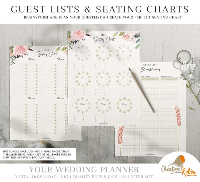 Printable Wedding Planner | Wedding Organizer | Bridesmaid Planner | Bride Planner | Wedding Checklist | 135 Pages Printable Planner by CreativeRobin - 004