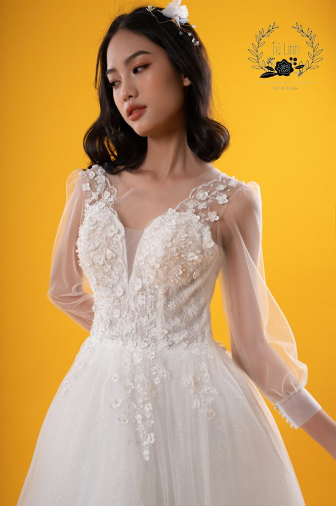 Hand Puffed Wedding Dress by Tu Linh Boutique - 004