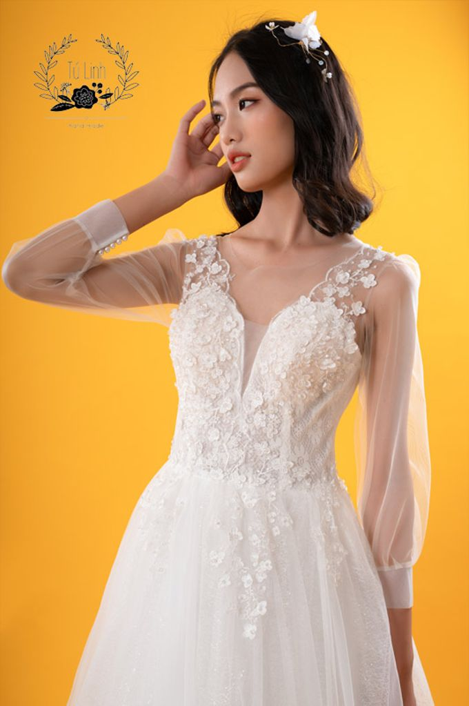 Hand Puffed Wedding Dress by Tu Linh Boutique - 006