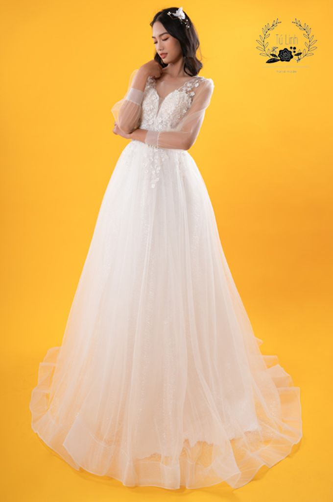 Hand Puffed Wedding Dress by Tu Linh Boutique - 008