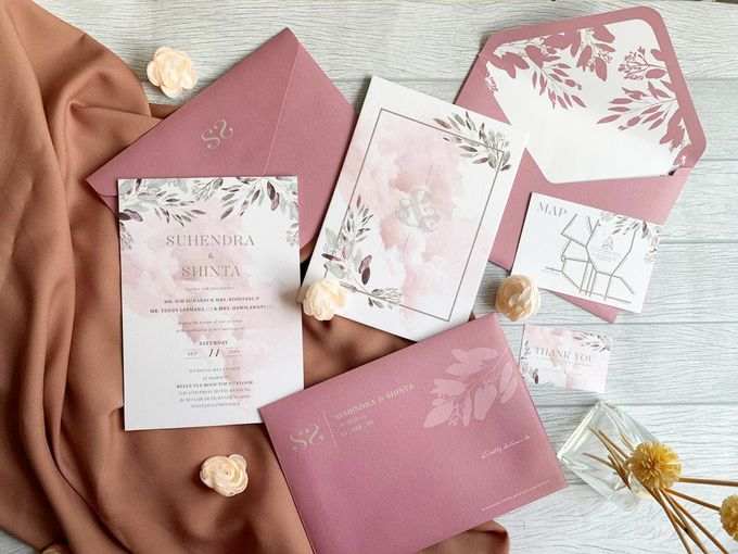 Modern Dusty Pink Botanical by Trouvaille Invitation - 007