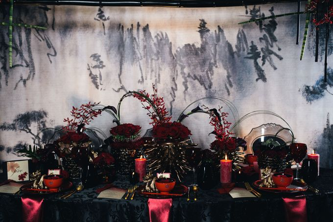 Dark Fantasy Asian Wedding Style Editorial Shoot by Asian Fusion Weddings - 006