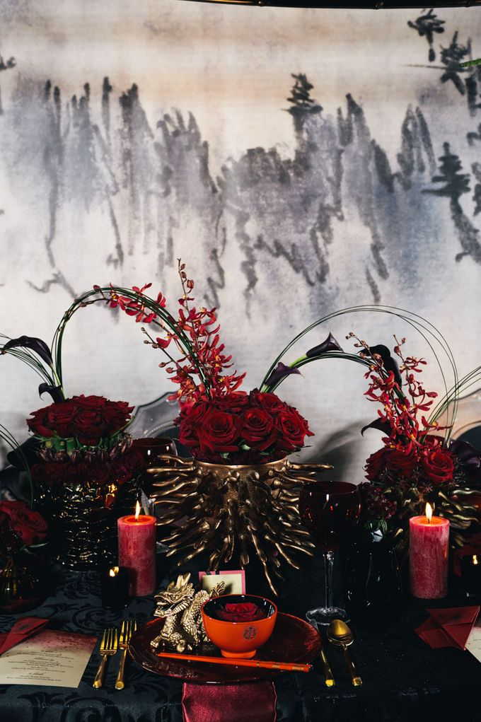 Dark Fantasy Asian Wedding Style Editorial Shoot by Asian Fusion Weddings - 009