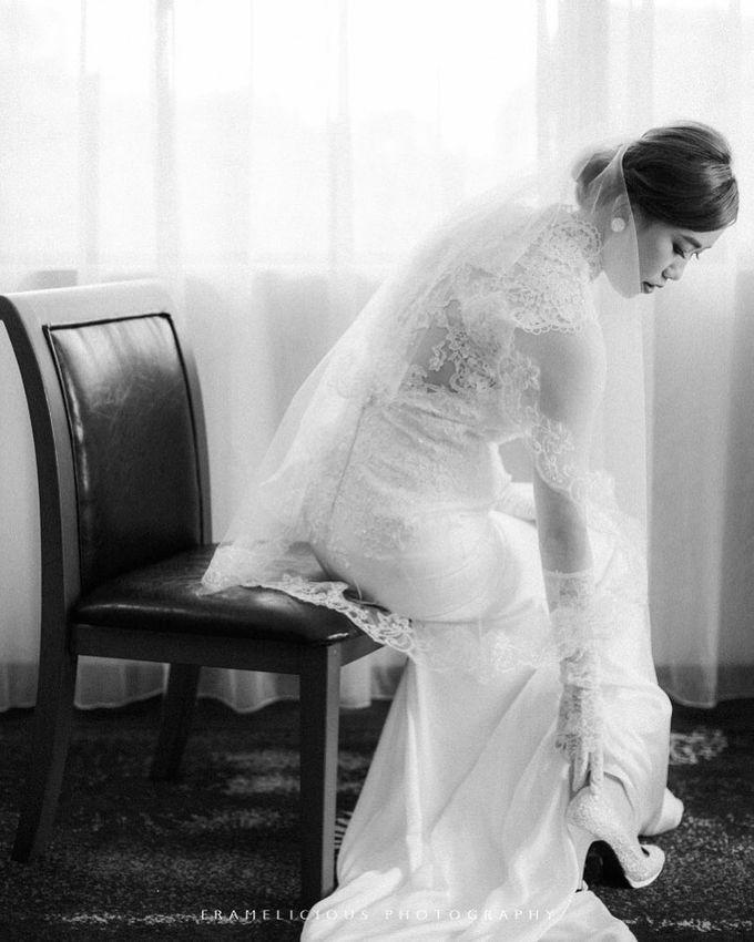 Bride Debbie - High Neck Illusion Fitted Silk Chiffon Wedding Dress - Dentelle Bridal by Framelicious Studio - 002