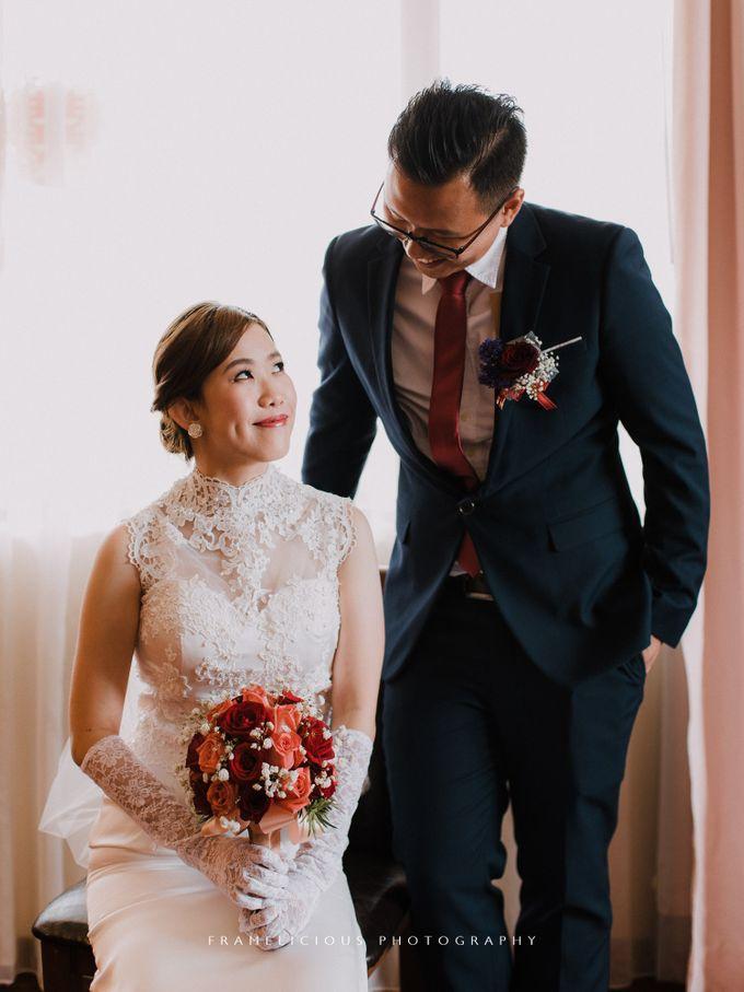 Bride Debbie - High Neck Illusion Fitted Silk Chiffon Wedding Dress - Dentelle Bridal by Framelicious Studio - 003