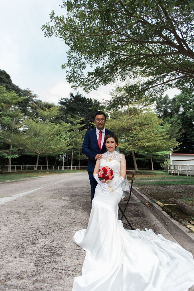 Bride Debbie - High Neck Illusion Fitted Silk Chiffon Wedding Dress - Dentelle Bridal by Framelicious Studio - 005