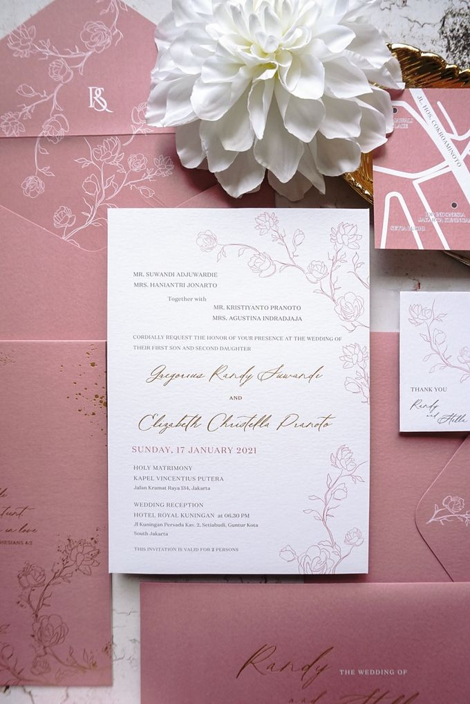 Pink Botanical by Trouvaille Invitation - 004