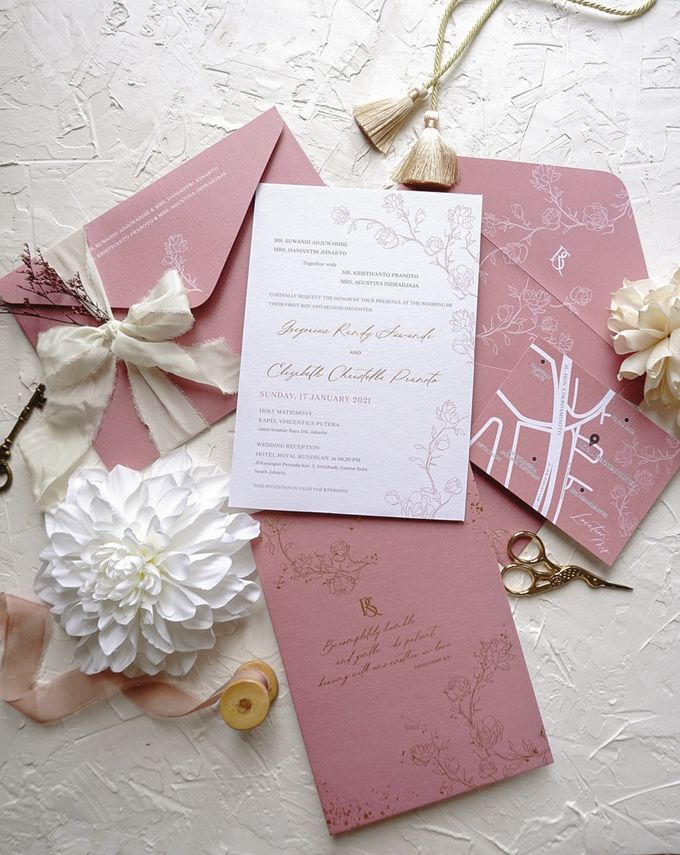 Pink Botanical by Trouvaille Invitation - 007