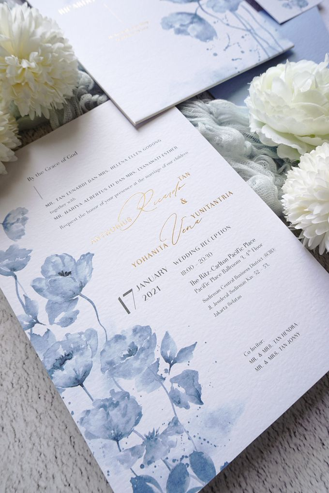 Blue Poppies by Trouvaille Invitation - 003