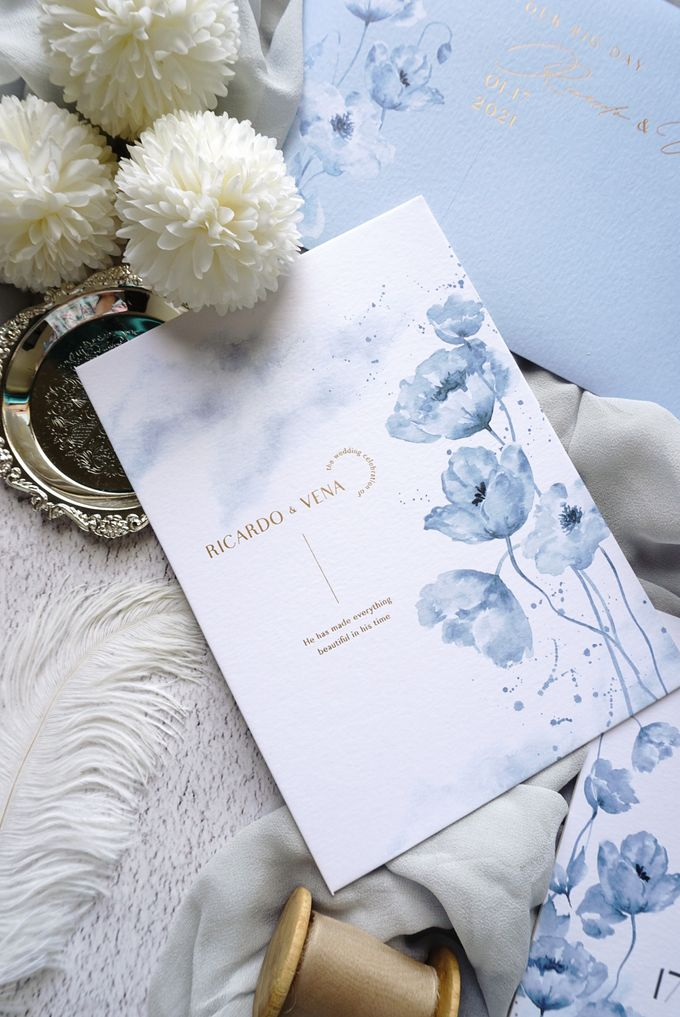 Blue Poppies by Trouvaille Invitation - 001