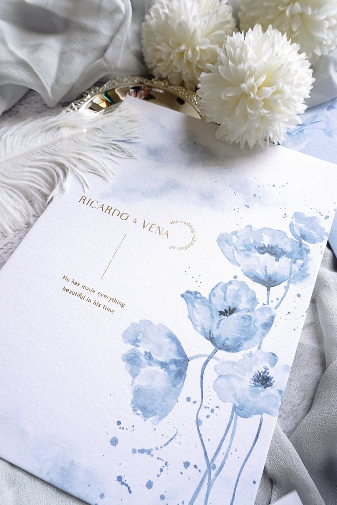 Blue Poppies by Trouvaille Invitation - 006