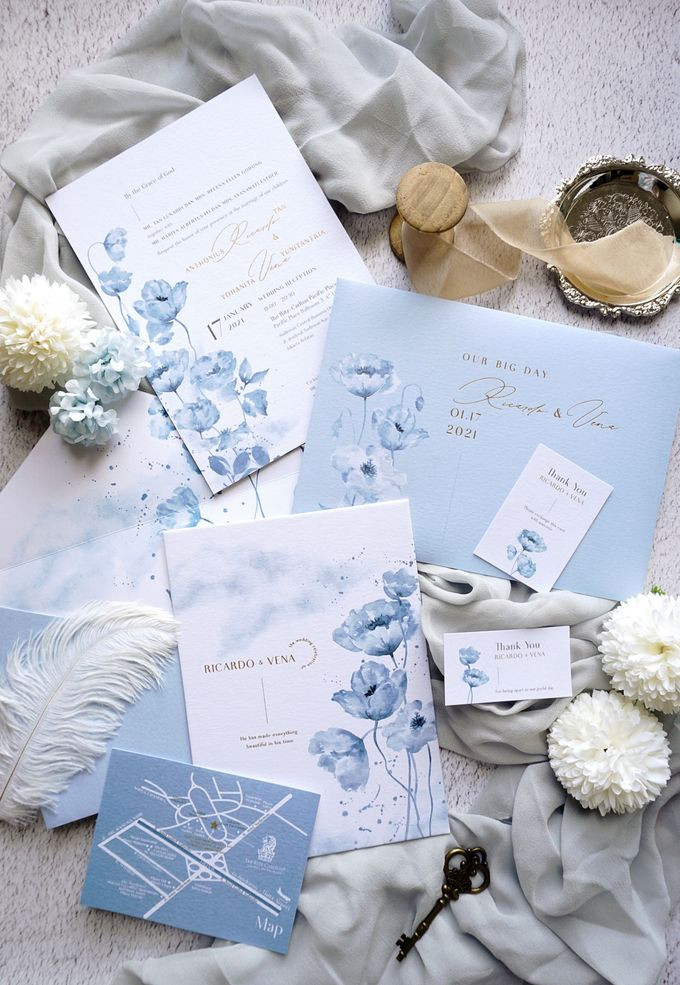 Blue Poppies by Trouvaille Invitation - 004