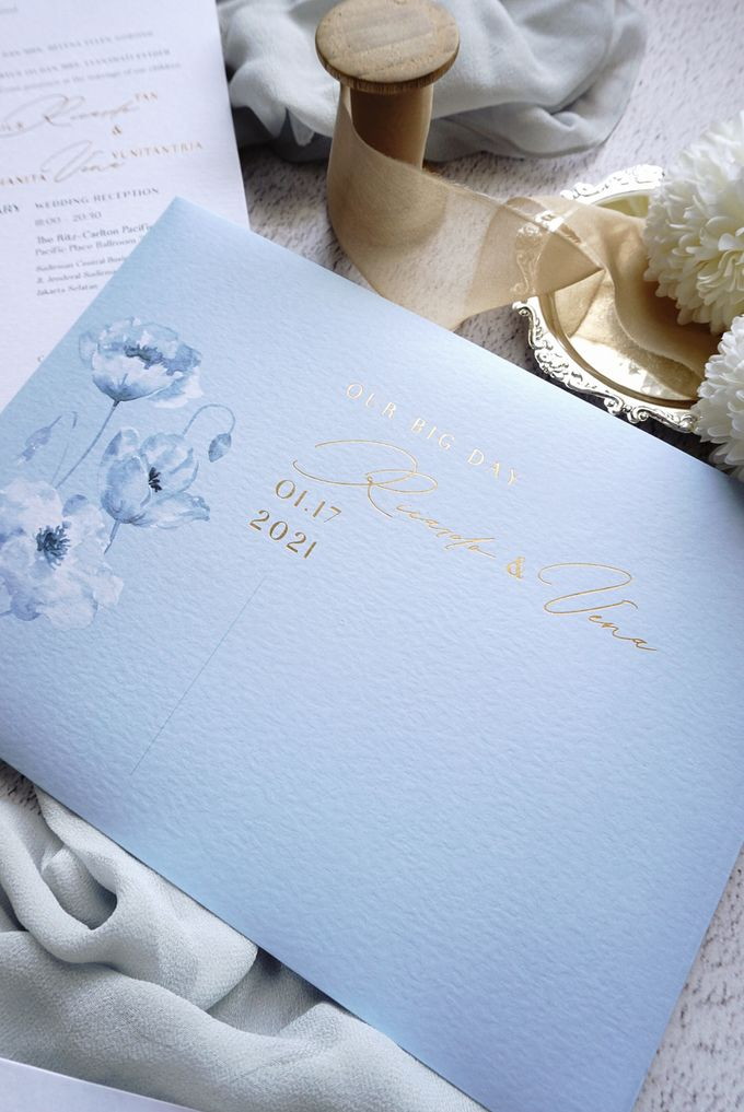 Blue Poppies by Trouvaille Invitation - 002
