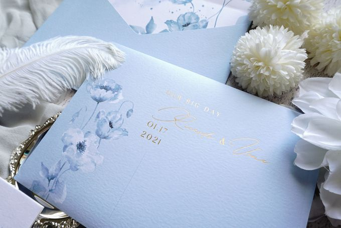 Blue Poppies by Trouvaille Invitation - 007