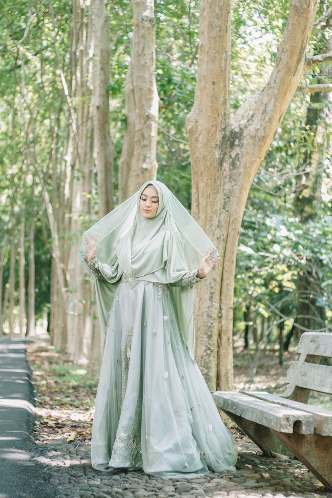 Ottoman Series - Green Sage Resepsi by LAKSMI - Kebaya Muslimah & Islamic Bride - 003