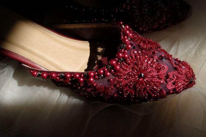 Maroon Bridal Shoes by ESMEE Studio - 001