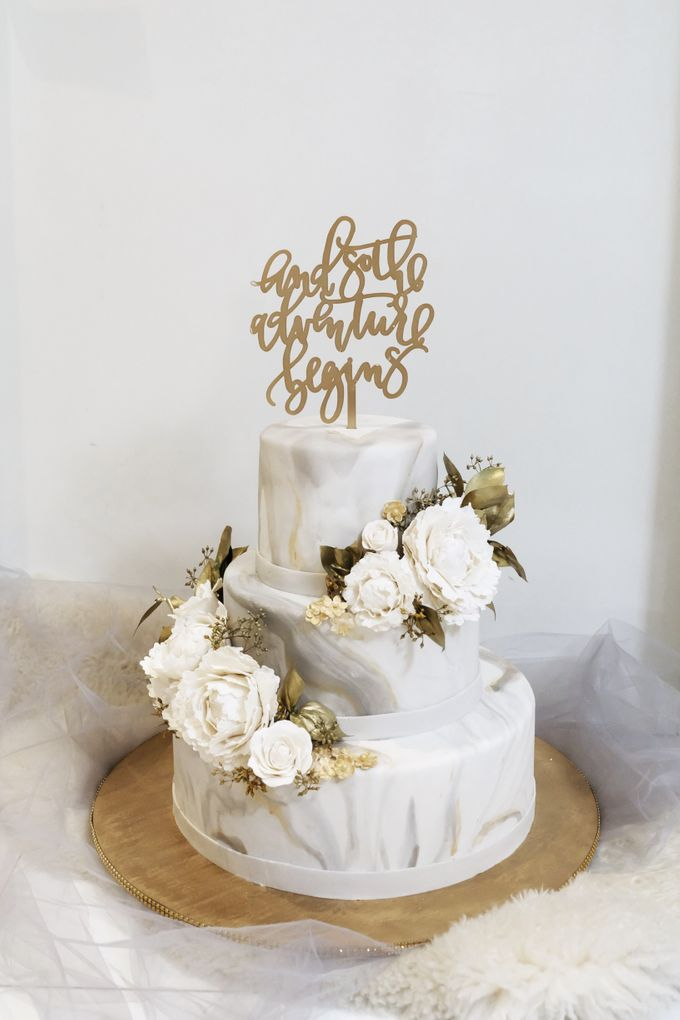 Three Tiered Marble Cake with Sugar Flower by KAIA Cakes & Co. - 007
