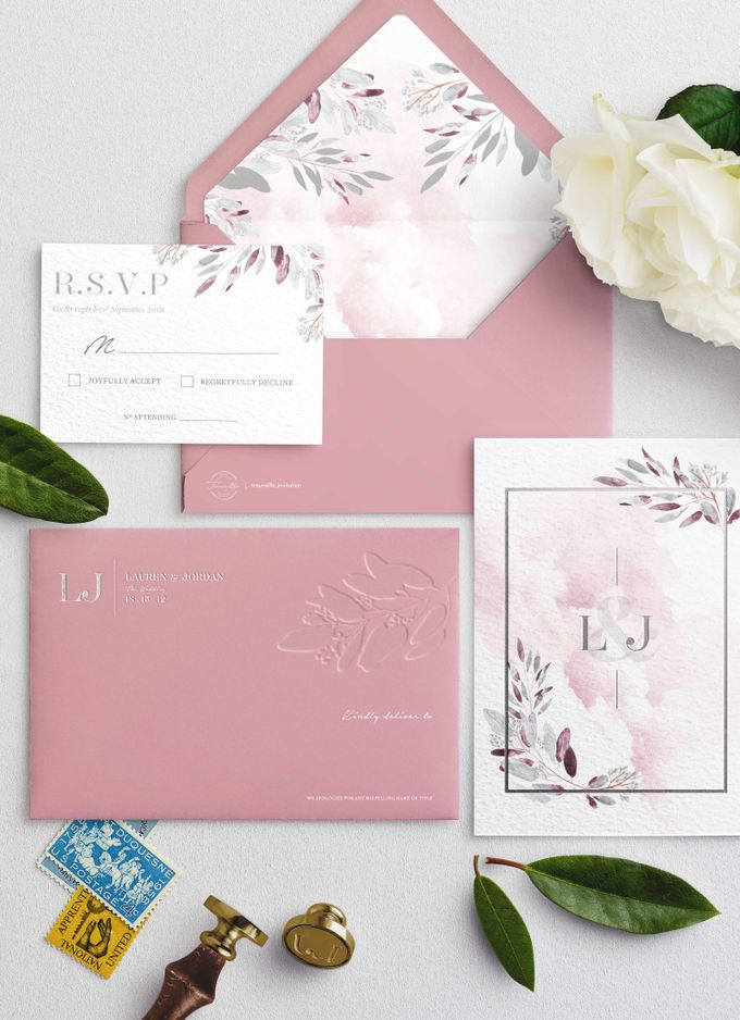 Contemporary Dusty Pink Botanical by Trouvaille Invitation - 001
