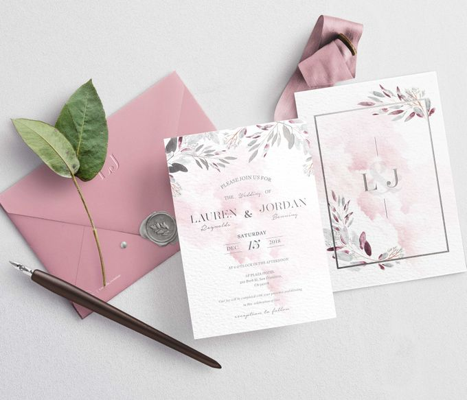 Contemporary Dusty Pink Botanical by Trouvaille Invitation - 003