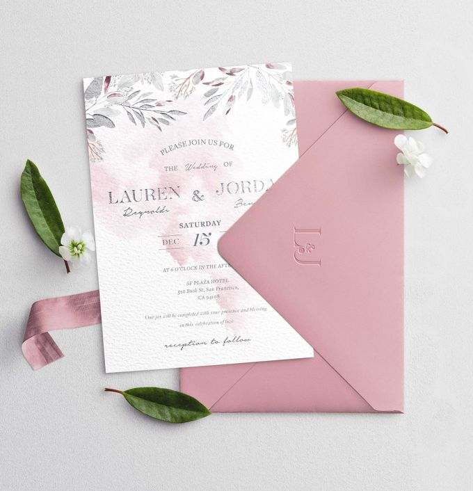 Contemporary Dusty Pink Botanical by Trouvaille Invitation - 002