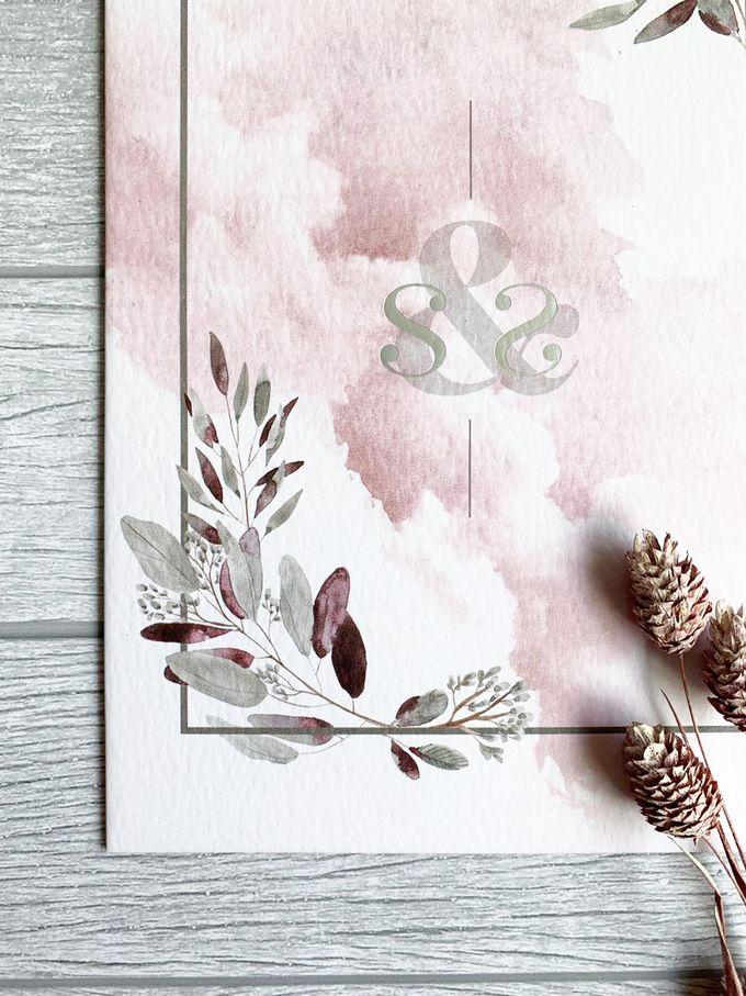 Modern Dusty Pink Botanical by Trouvaille Invitation - 008