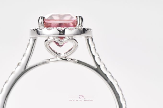 Pink Love Halo Engagement Ring by Draco Diamonds - 001