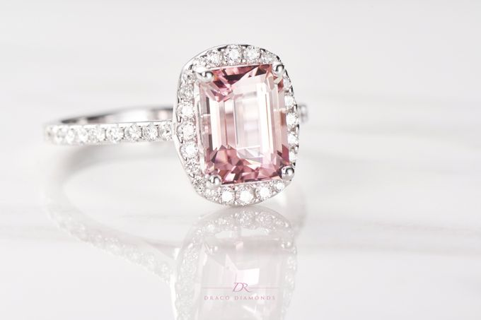 Pink Love Halo Engagement Ring by Draco Diamonds - 003