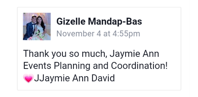Our Clients and Feedback by Jaymie Ann Events Planning and Coordination - 013
