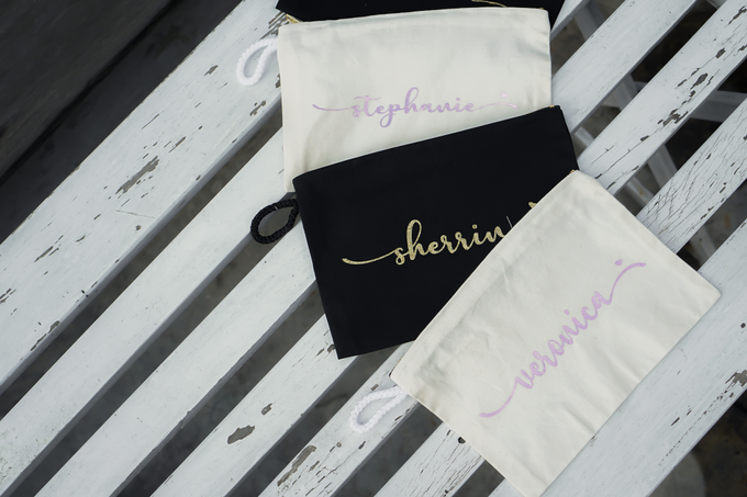 Personalized Bridesmaids Gift Canvas Pouch by Kelsye Studio - 001