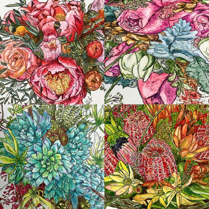 Custom Bridal Bouquet Paintings  by Down Ellis Lane - Art By Dianne White - 008