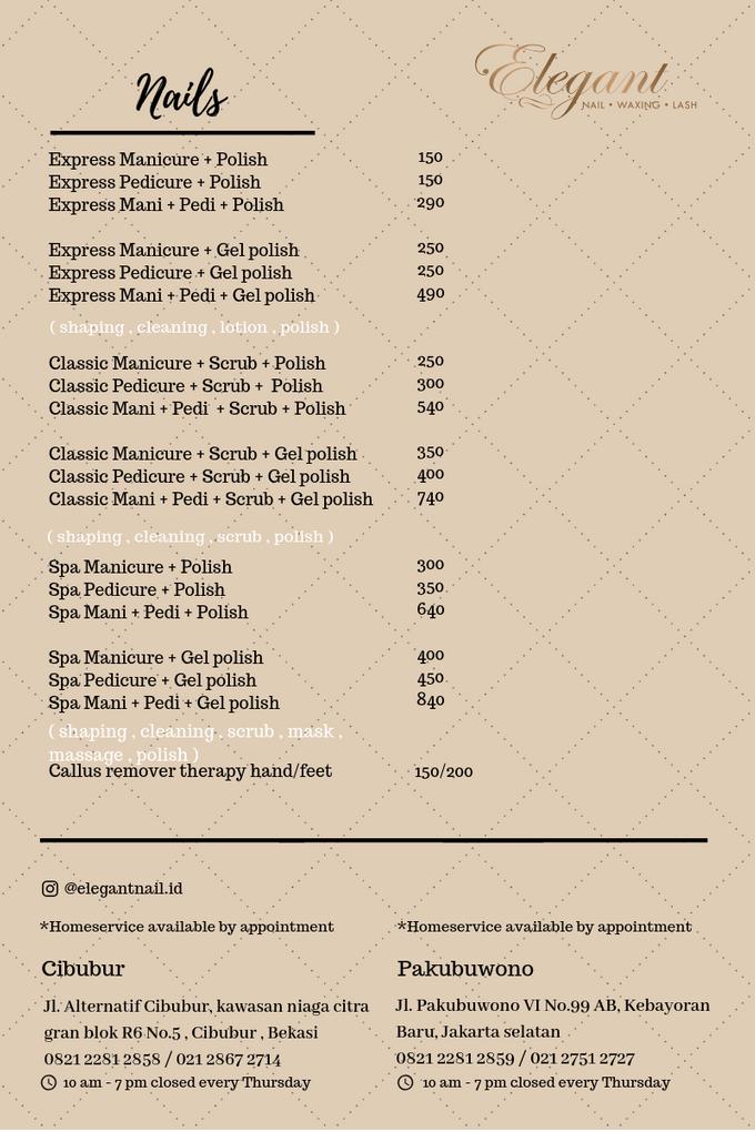 Ala carte price list by Elegant Nail Indonesia - 003