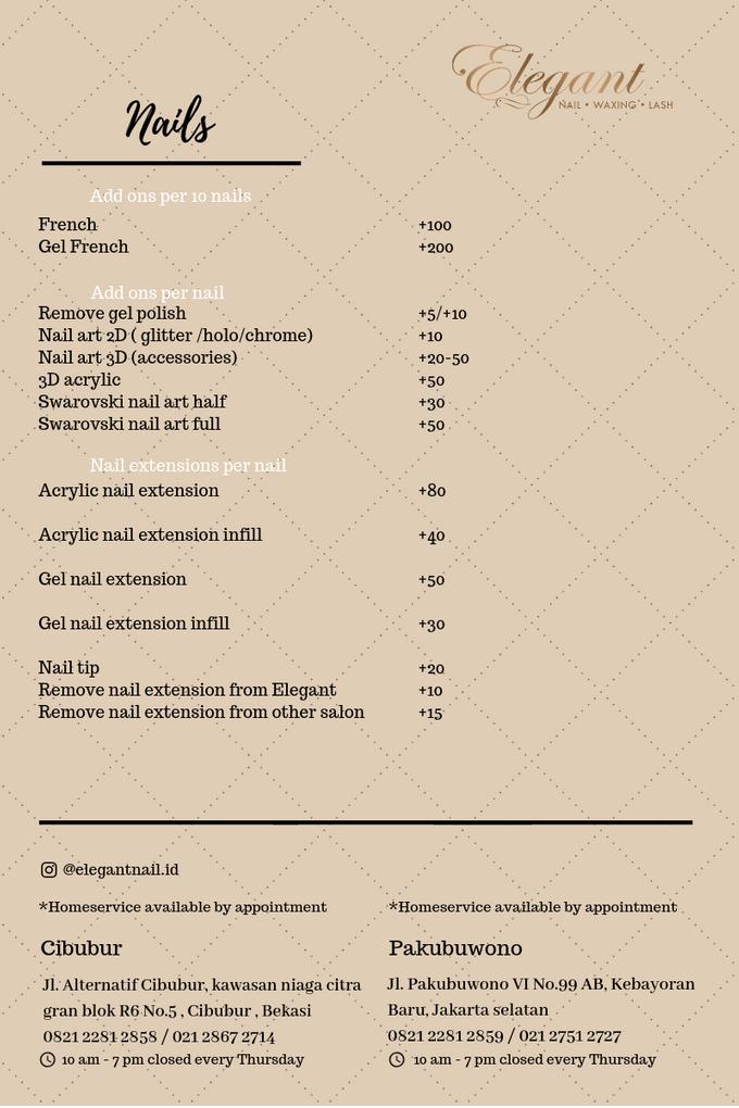 Ala carte price list by Elegant Nail Indonesia - 002