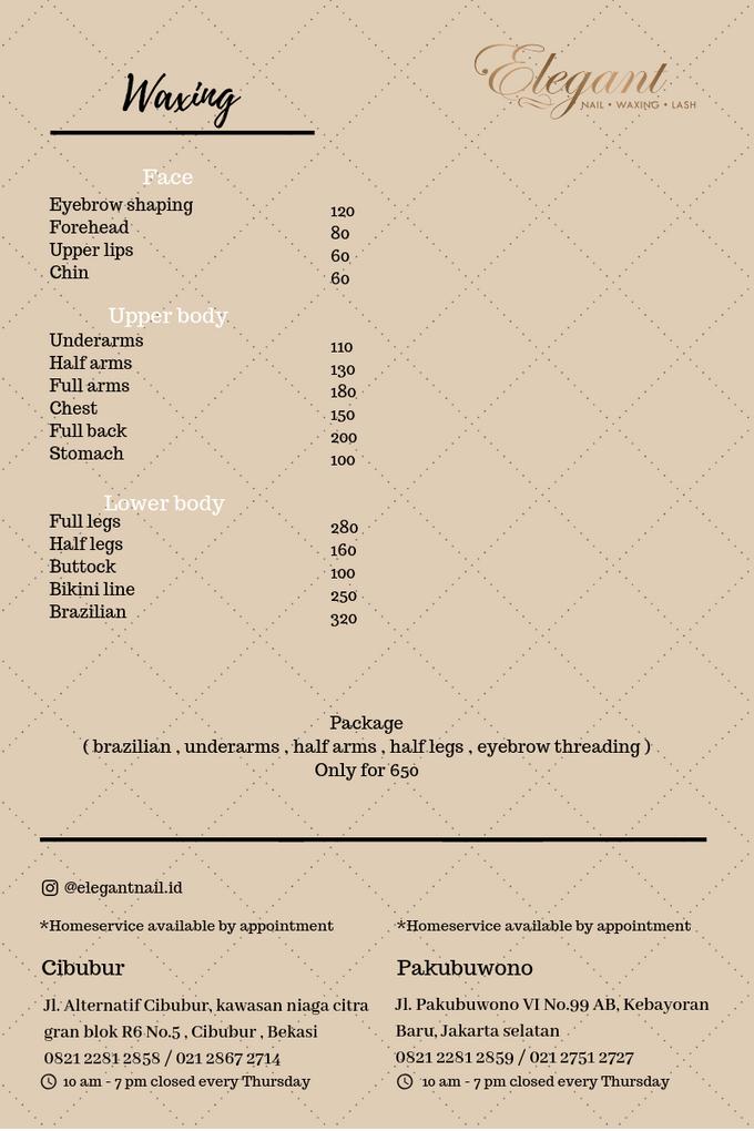 Ala carte price list by Elegant Nail Indonesia - 004