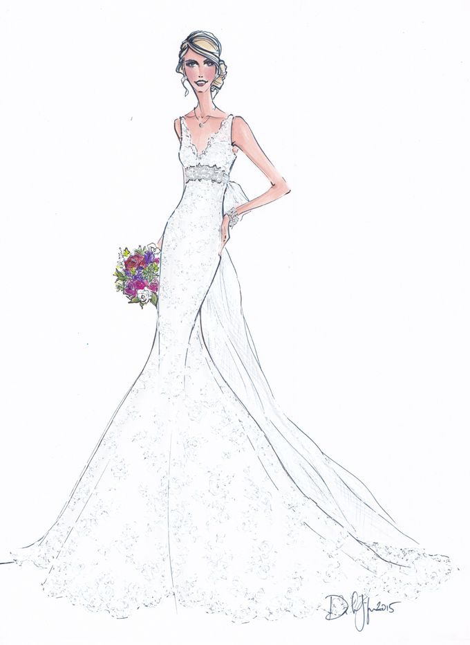 Custom frontals bridal illustration by Illustrative Moments - 024