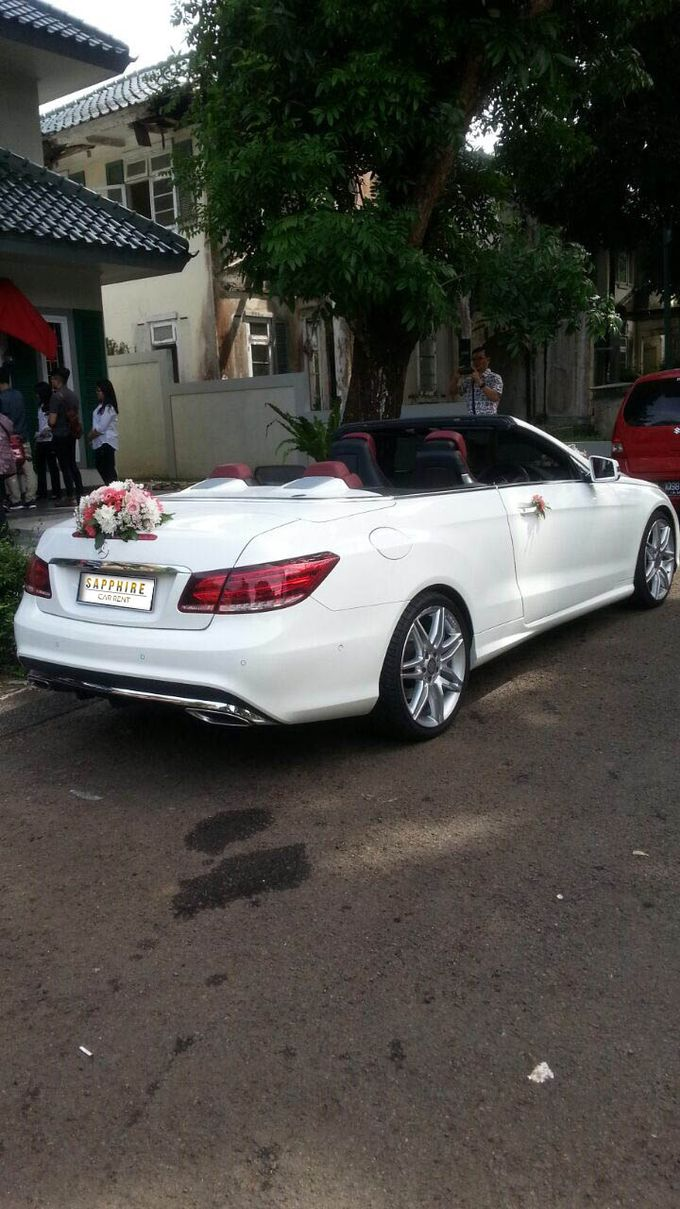 White Mercedes Cabriolet by sapphire wedding car - 002