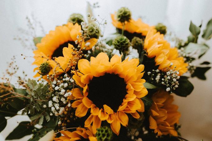Cascading Sunflower Bridal Bouquet by Eufloria - 010