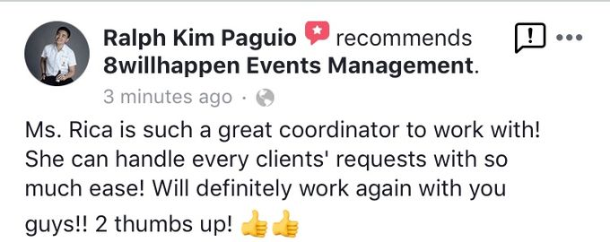 Client Appreciation and Feedback for 8willhappen Events Management by 8willhappen Events Management - 002