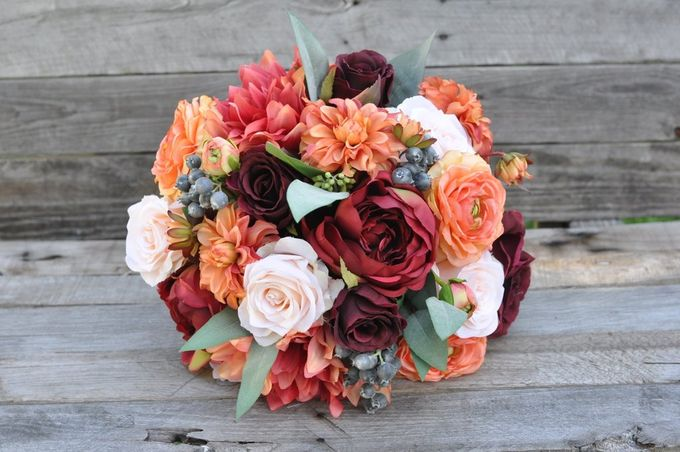 Faux or Artificial Flowers Wedding Bouquet by Maxwell Flowers - 001