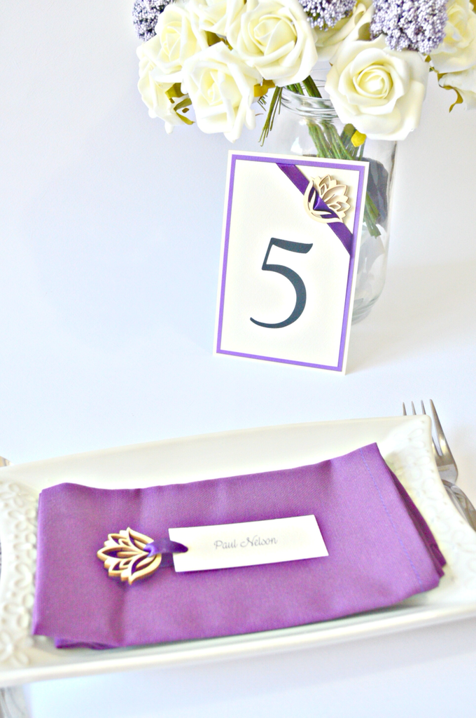 Purple place cards and table numbers by Jasmine wedding prints - 004