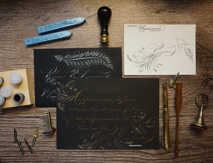Indonesia spencerian exchange project by funietchi calligraphy