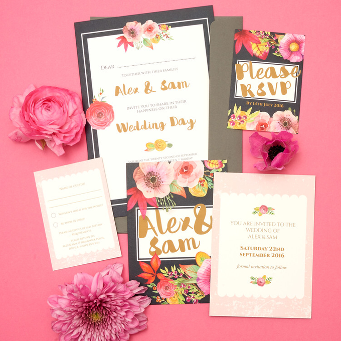 Blooms template design by Vicky Perry Wedding Stationery - 001