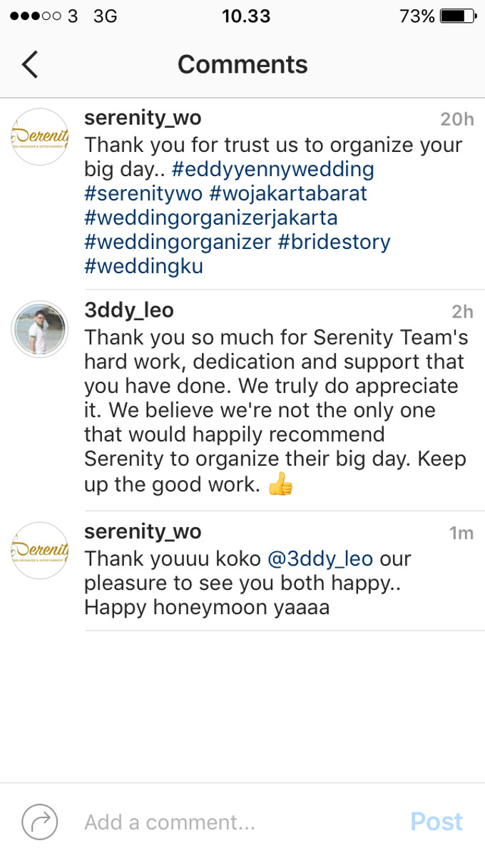 Testimoni from our Lovely Groom n Bride  by Serenity wedding organizer - 010