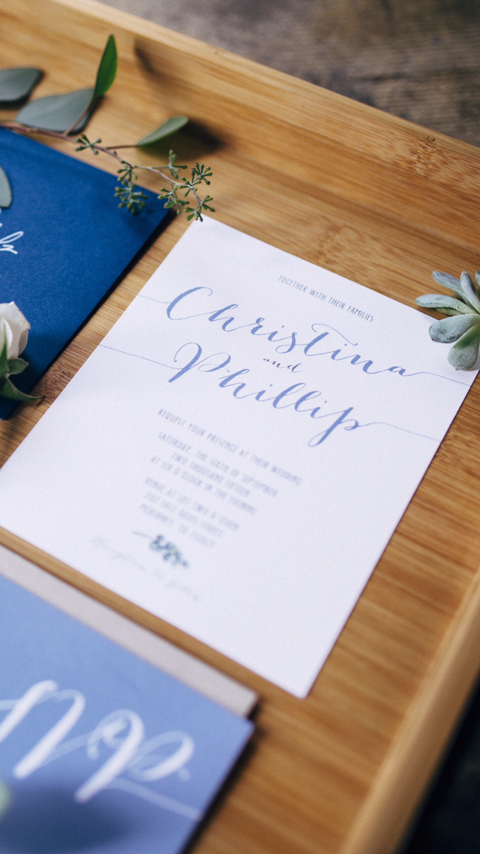 Earthy Blue and Green Wedding Invitation by Brown Fox Creative ...