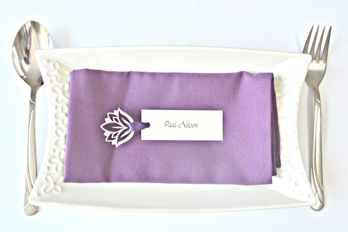 Purple place cards and table numbers by Jasmine wedding prints - 005