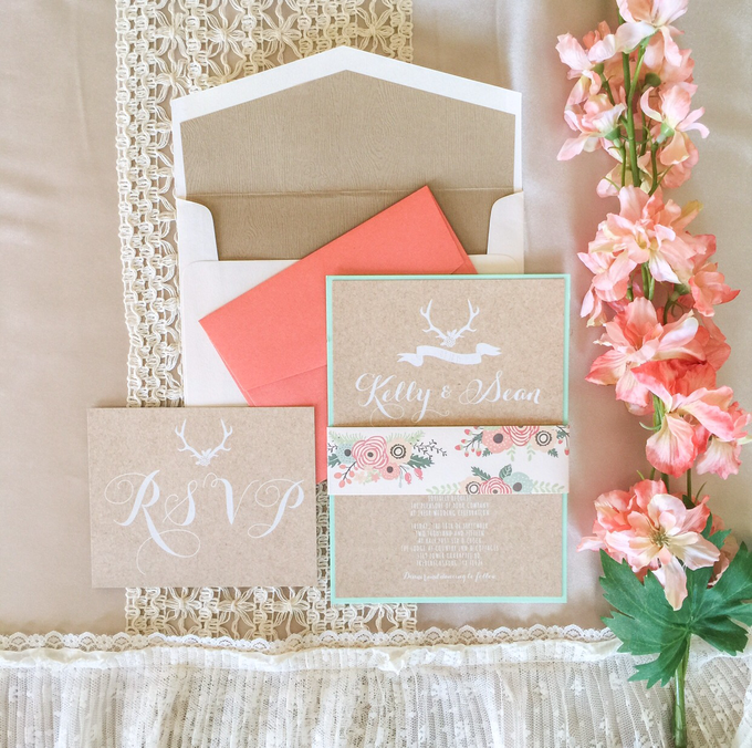 Coral And Mint Wedding Invitations: Rustic Chic Coral & Mint Wedding Invitation By Brown Fox