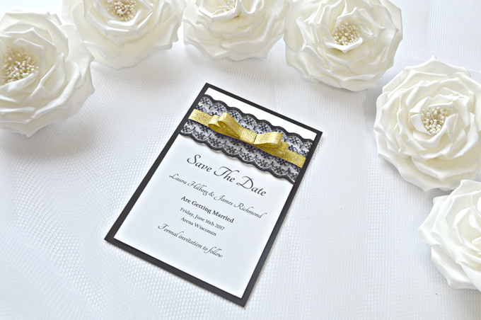 Black & Gold save the date cards by Jasmine wedding prints - 001