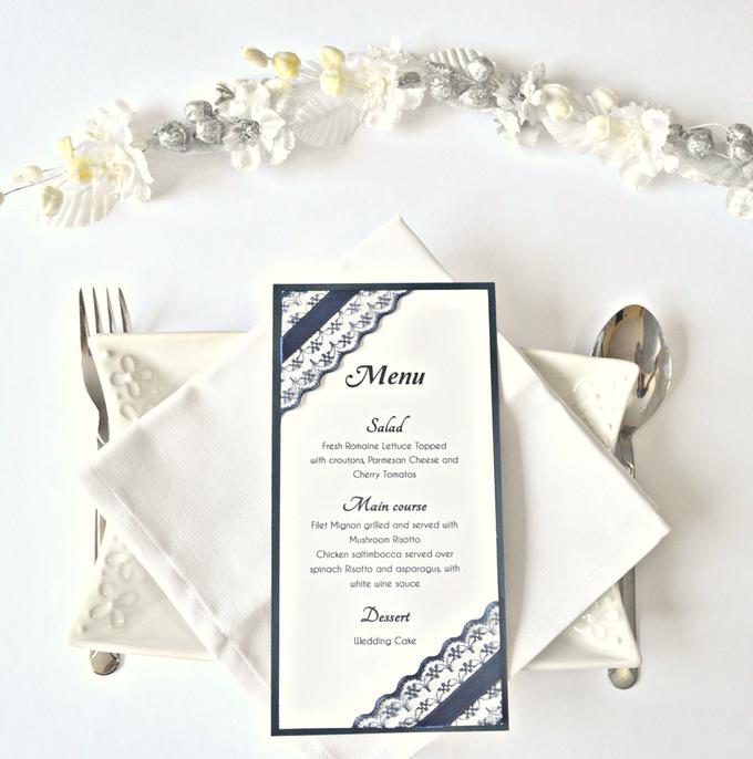 Navy Blue Lace wedding stationery set by Jasmine wedding prints - 005