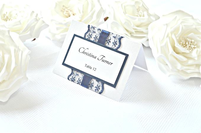 Navy Blue Lace wedding stationery set by Jasmine wedding prints - 002