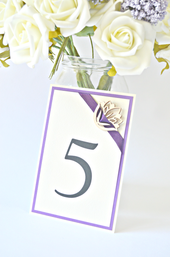Purple place cards and table numbers by Jasmine wedding prints - 002