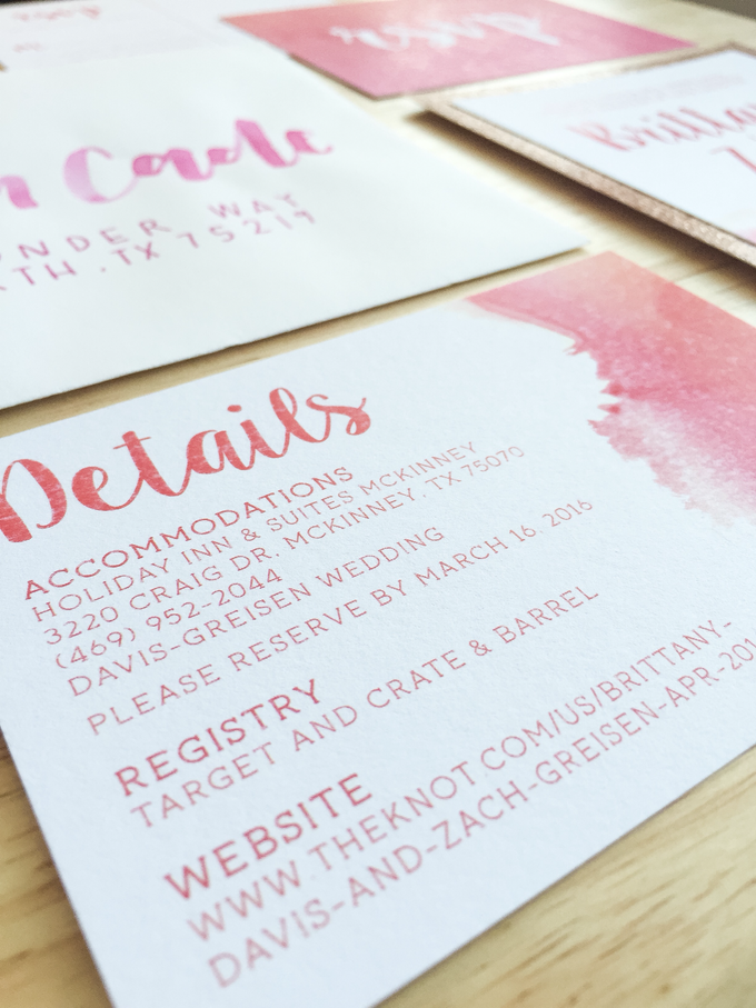 pink and gold glitter pocket wedding invitations with